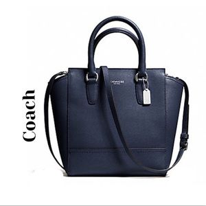 Coach Mini Tanner Navy Blue Saffiano Leather bag